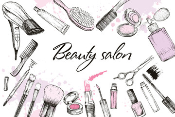 Hair cut, manicure, makeup, hair coloring, hairdressing, styling professional beauty tools