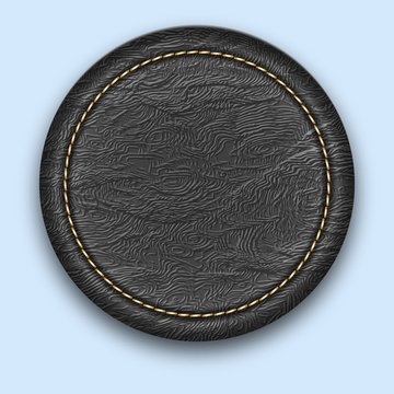 Round leather stitched label. Realistic black tag.