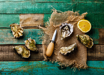 Open fresh Oysters with lemon on green wooden background