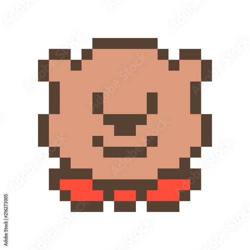 Cute smiling bear muzzle,16x16 pixel art icon isolated on