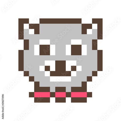 Cute smiling raccoon muzzle,16x16 pixel art icon isolated on