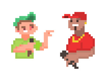 Pixel art stand-up comedy/beatbox/rap/hip-hop/mc battle poster design. Two male characters arguing in microphone. Street/underground/urban music culutre banner.Tough guys on stage insulting each other