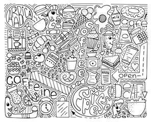 Doodle vector monochrome illustration. Modern art for coffee.