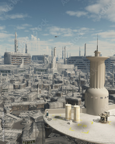 """Control Tower at a Future City Spaceport - science fiction illustration"" Stock photo and royalty-free images on Fotolia.com - Pic 216273664"