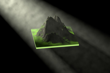 3D rendering, Lumpy mountains and light and fog