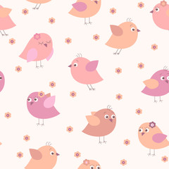 Cute seamless pattern with multi-colored cartoon birds