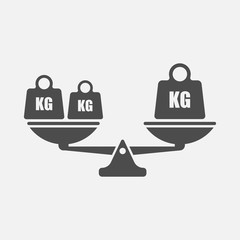 Scales balance icon isolated on white background. Vector illustration.