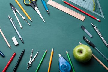 High Angle View Of Various School Supplies