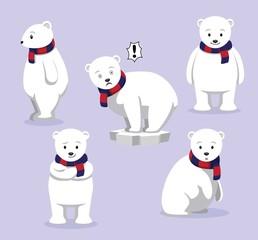 Polar Bear Poses Cartoon Vector Illustration