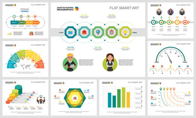 Colorful research or management concept infographic charts set. Business design elements for presentation slide templates. Can be used for financial report, workflow layout and brochure design.