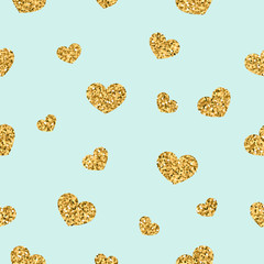 Gold heart seamless pattern. Golden chaotic confetti-hearts on blue background. Symbol of love, Valentine day holiday. Design for wallpaper, fabric texture. Vector illustration
