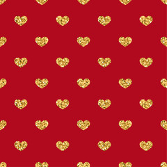 Gold heart seamless pattern. Golden geometric confetti-hearts on red background. Symbol of love, Valentine day holiday. Design wallpaper, fabric texture. Vector illustration