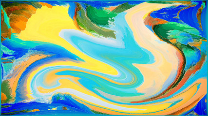 Abstract painting for a home interior in blue and orange colors