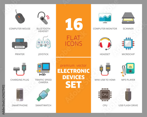 Electronic devices icon set  Smartphone, laptop, camera