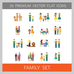 Family Icon Set. Happy Family With Baby Children Child Non-traditional Gay Family With Baby Father And Son Mother And Daughter Family On Beach