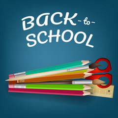 Back to school lettering with colored pencils and scissors. Offer or sale advertising design. Typed text, calligraphy. For leaflets, brochures, invitations, posters or banners.