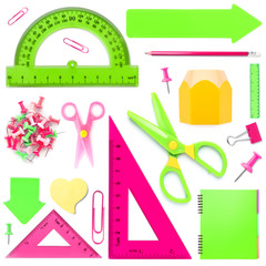 Set of colorful school stationery on white background