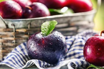 Ripe juicy plum, closeup