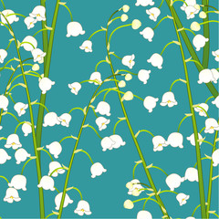 White Lily of the Valley on Green Teal Background