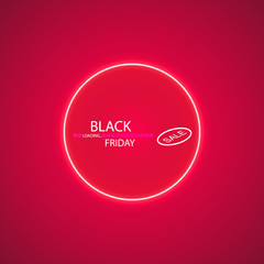 Black friday sale glowing neon sign with Loading Bar on the red background. Light vector background for your advertise, discounts and business