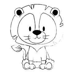 cute and adorable lion character
