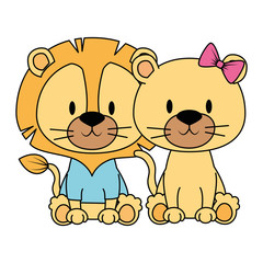 cute and adorable couple lions characters