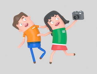 Young couple taking a selfie photo with a camera. Isolate. Easy automatic vectorization. Easy background remove. Easy color change. Easy combine. 5000x3800 - 300DPI