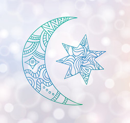 A card with a doodle month and a star on a glowing background. Hand-drawn symbols of the night sky. Vector illustration.