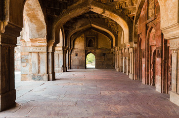 Colonnade around a main palace in the Lodhi Garden, Delhi, India