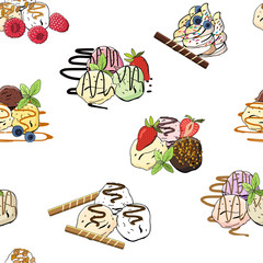 Sweet ice cream seamless pattern