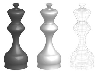 set of three 3d chess kings or queens, white, black, and frame lines silhouette, vector illustration isolated on white background