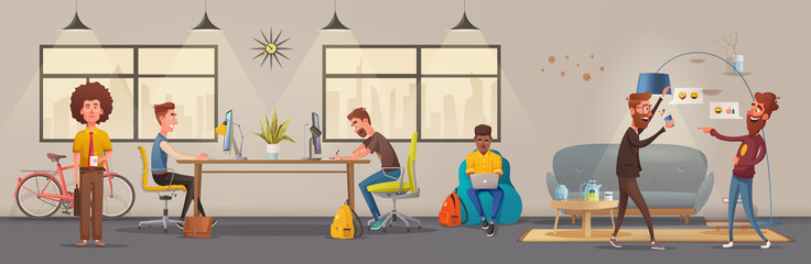 Office interior. Modern apartment scandinavian or loft design. Cartoon vector illustration