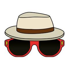sunglasses summer with hat vector illustration design