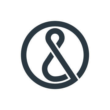 Ampersand logo template. The ampersand in the shape of a circle. Vector illustration.