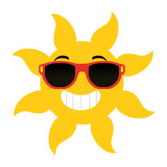summer sun with sunglasses vector illustration design