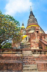Ayutthaya, Thailand-March 24, 2018: Wat Yai Chai Mongkhon or the Great Monastery of Auspicious Victoryis
