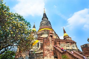 Ayutthaya, Thailand-March 24, 2018: Wat Yai Chai Mongkhon or the Great Monastery of Auspicious Victoryis