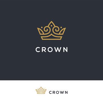 Linear elegant crown logo.