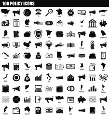100 policy icon set. Simple set of 100 policy vector icons for web design isolated on white background