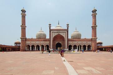 Autocollant pour porte Delhi Jama Masjid, main muslim mosque in Delhi, India