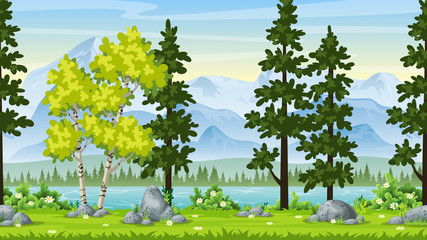 Wall Mural - Seamless Cartoon Nature Background