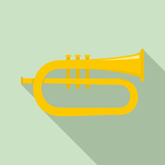 Bass trumpet icon. Flat illustration of bass trumpet vector icon for web design