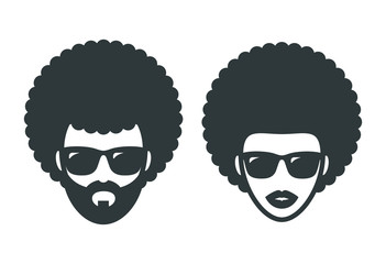 Funky woman and man in sunglasses with Afro hair