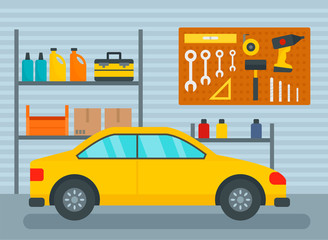Car in home garage background. Flat illustration of car in home garage vector background for web design