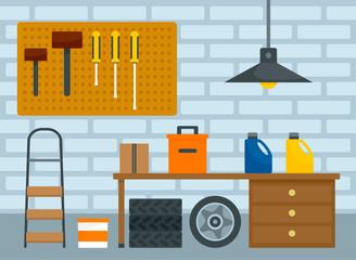 Home car garage background. Flat illustration of home car garage vector background for web design
