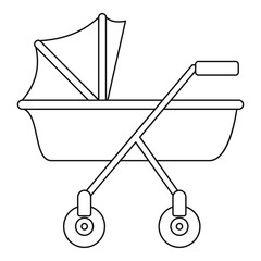 New baby carriage icon. Outline new baby carriage vector icon for web design isolated on white background