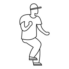 Hip hop dancer icon. Outline hip hop dancer vector icon for web design isolated on white background