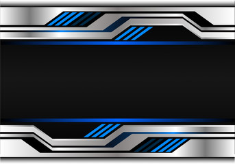 Technology metal blue light futuristic on black blank space design modern background vector illustration.