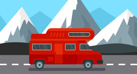 Red camp truck background. Flat illustration of red camp truck vector background for web design