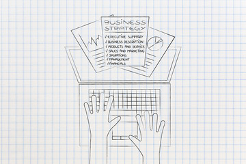 business strategy documents popping out of laptop screen from above